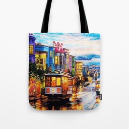 Russian Hill, San Francisco with view of Bay Tote Bag