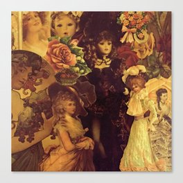 Decoupage Ladies Canvas Print