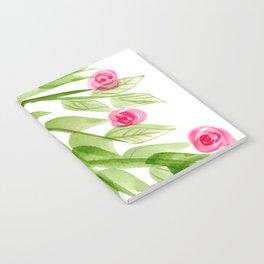 Pink Rosebuds in Watercolor Notebook
