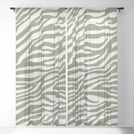 Olive Zebra Animal Print Sheer Curtain