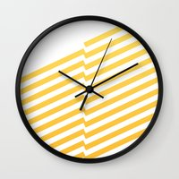 bands Wall Clocks featuring Yellow bands by blacknote