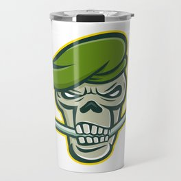 Green Beret Skull Ice Hockey Mascot Travel Mug
