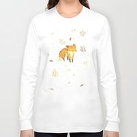 mind Long Sleeve T-shirts featuring Lonely Winter Fox by Teagan White