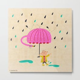 one of the many uses of a flamingo - umbrella Metal Print