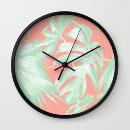 Island Love Coral Pink + Light Green Wall Clock