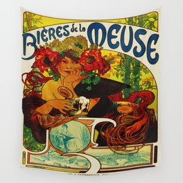 Vintage Art Nouveau Beer Ad Wall Tapestry