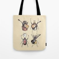 jack Tote Bags featuring Meet the Beetles by Eric Fan