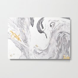 Cloud and Lightening Marble Metal Print