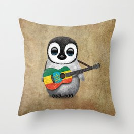 Baby Penguin Playing Ethiopian Flag Acoustic Guitar Throw Pillow