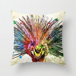 Porcupine Grunge Throw Pillow