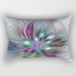 Colorful Fantasy Abstract Modern Fractal Flower Rectangular Pillow