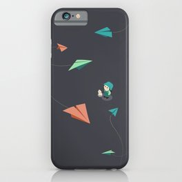 Girl Watching Paper Planes iPhone Case