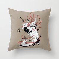 okami Throw Pillows featuring OKAMI RIBBONS by Rubis Firenos