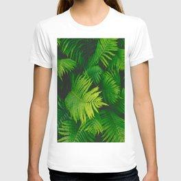 Colorful Green Fern Leaves Fern Plant Leaf Pattern T-shirt