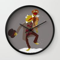 kermit Wall Clocks featuring Kermit Christmas Carol by Rachel McAlister