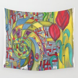 abstract red flower Wall Tapestry