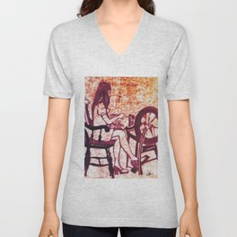 At the Spinning Wheel      by Kay Lipton Unisex V-Neck
