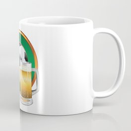 Beer glasses and Soccer Ball in green circle Coffee Mug