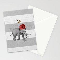 elephant and bird Stationery Cards