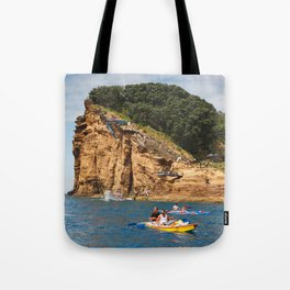 Cliff diving and kayaks Tote Bag