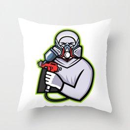 Industrial Spray Painter Mascot Throw Pillow