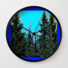 WESTERN PINE TREES LANDSCAPE IN BLUE Wall Clock