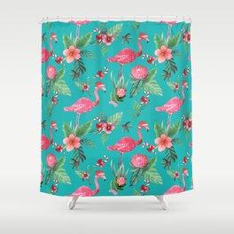 Santa Flamingo Christmas, Holiday Tropical Watercolor Shower Curtain