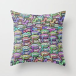 Lip Service - Girly Shit Illustration Throw Pillow