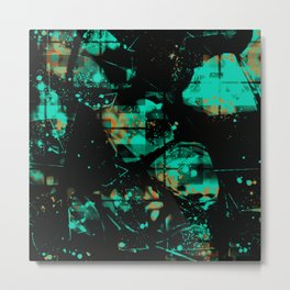 Black and Turquoise Abstract Metal Print