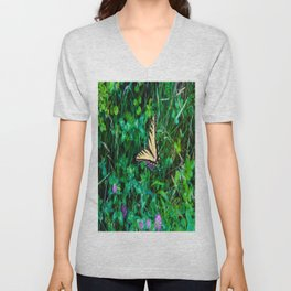 A Butterfly Using Its Wings Unisex V-Neck