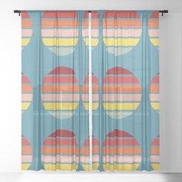 Retro Color Striped Circle Design - Edagiku Sheer Curtain