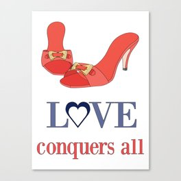 Shoe Love Conquers All Canvas Print