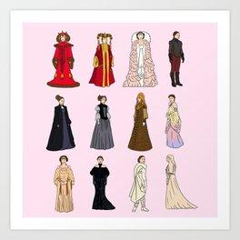 """Padme Amidala Outfits"" by Doodle by Meg Art Print"