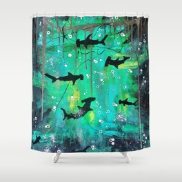 Teal hammerheads Shower Curtain