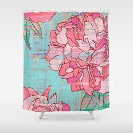 Pastel flowers shower curtains society6 pink roses floral print in pastels shower curtain mightylinksfo