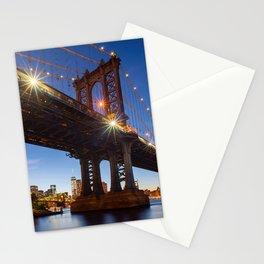 Manhattan Bridge Light night Stationery Cards