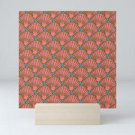 Art Deco Shell Print Coral Teal Shell Pattern Coastal Mini Art Print