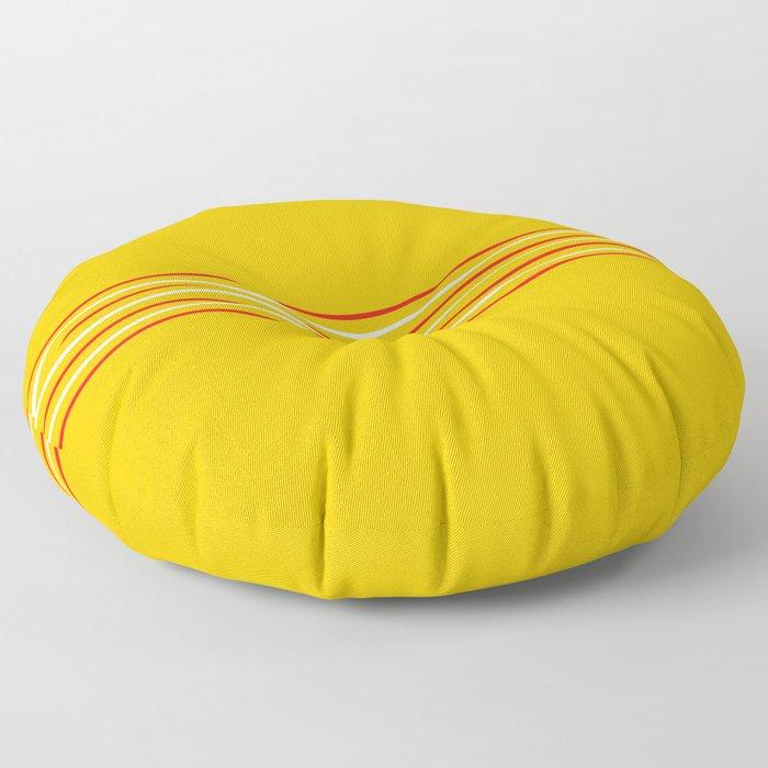 Filigree Thin Stripes on Yellow Floor Pillow