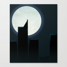 Smooth Heroes - A dark knight in front of the moon Canvas Print