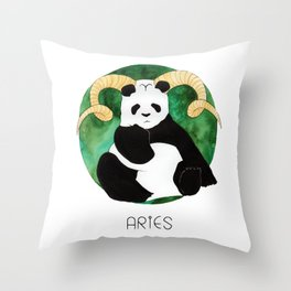 Panda Zodiac Aries Throw Pillow