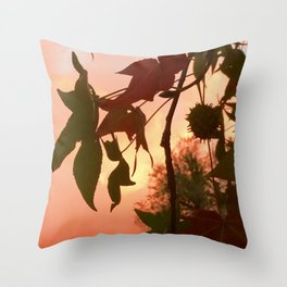 Autumn Amber Leaves Throw Pillow