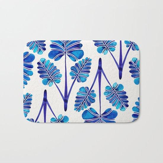 Tropical Palm Leaf Trifecta – Navy Palette Bath Mat