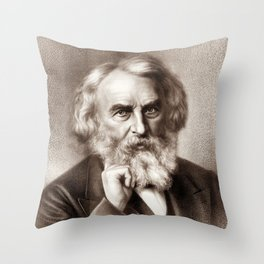 Henry Wadsworth Longfellow - American Poet Throw Pillow