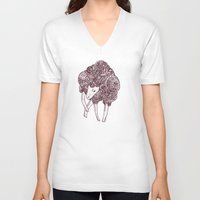 sheep V-neck T-shirts featuring Sheep by Monique Turchan