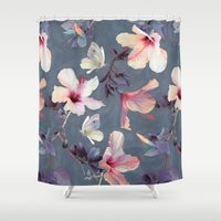 pink floyd Shower Curtains featuring Butterflies and Hibiscus Flowers - a painted pattern by micklyn