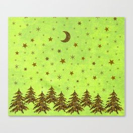 Sparkly Christmas tree, stars, moon on abstract green paper Canvas Print
