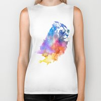 lion Biker Tanks featuring Sunny Leo   by Robert Farkas