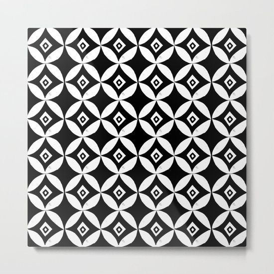 Linocut minimal scandinavian stars circles geometric black and white pattern Metal Print