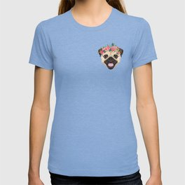 Pug floral crown cute dog with flowers pugs pet portrait dog breed T-shirt