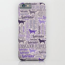 Labrador retriever silhouette and word art pattern iPhone Case